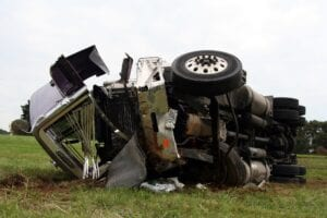 truck crash on the road